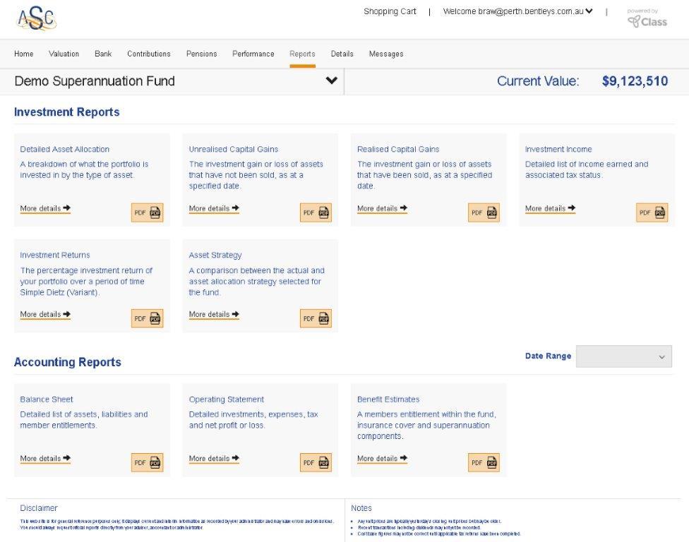 ASC Portal Report Page